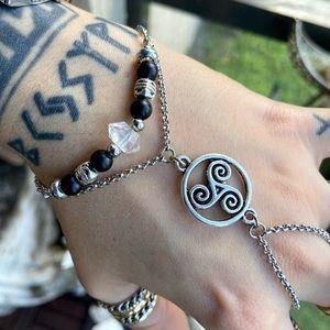 Set of 2 bracelets celtic slave & herkimer diamond
